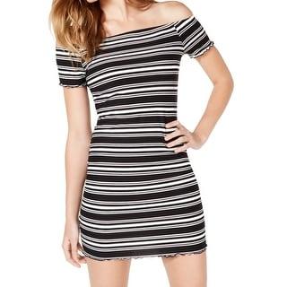 Ultra Flirt Black Size XS Junior Sheath Dress Striped Off Shoulder