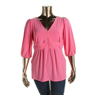 NY Collection Womens Plus Pullover Top Gathered Puff Sleeves