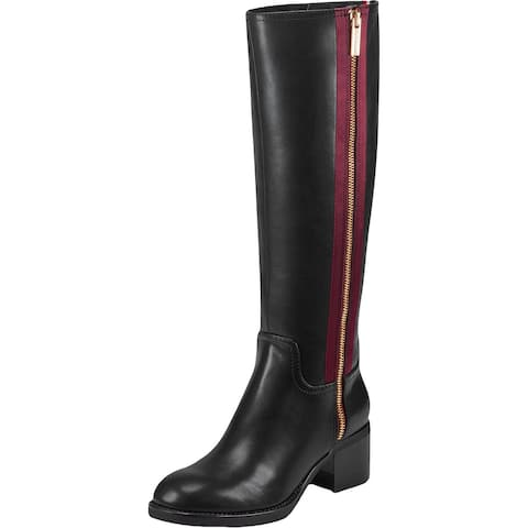 Tommy Hilfiger Womens Charlei Knee-High Boots Faux Leather Block Heel - Black Multi