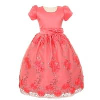 Girls Coral Embroidered Satin Sequin Tulle Flower Girl Easter Dress 8-12