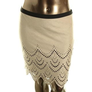 Karen Kane Womens Faux Suede Cut-Out Pencil Skirt - S