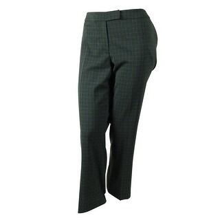 Jones New York Women's Square Print Dress Pants - teal mist/charcoal - 12P