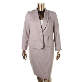 Le Suit Womens Petites Woven Lined Skirt Suit - 10P