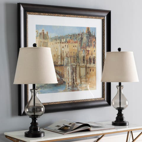 """Morty Traditional Glass 26.75-inch Table Lamps (Set of 2) - 26.75""""H x 13""""W x 13""""D"""