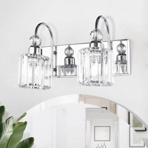 2-Light Wall Sconce Vanity Lighting with Crystal Shades