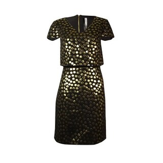 Kensie Women's Metallic Polka-Dot Print Dress - s