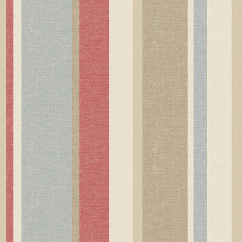 Raya Red Linen Stripe Wallpaper - 20.5in x 396in x 0.025in
