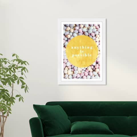 Wynwood Studio 'Anything is Possible' Typography and Quotes Yellow Wall Art Framed Print