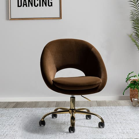 Savas Height Adjustable Swivel Task Chair with Gold Base