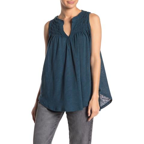 Free People Womens Top Surf Blue Size XS Knit Split Neck Hi Low Smocked