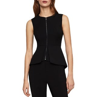 BCBG Max Azria Abrielle Women's Peplum Sleeveless Zip Top - Black