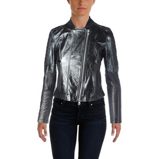 Theory Womens Motorcycle Jacket Lamb Leather Polished