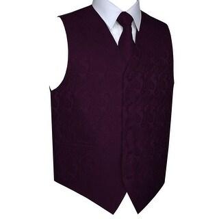 Men's Formal Tuxedo Vest, Tie & Pocket Square Set-Sangria Paisley-XS