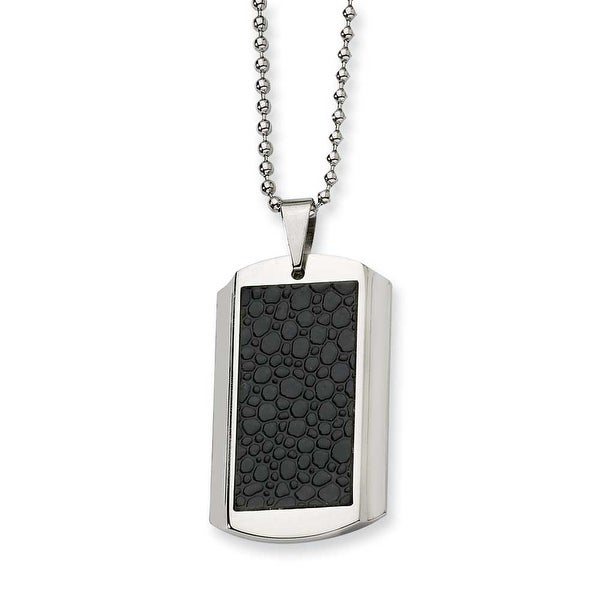 Chisel Stainless Steel and Stingray Patterned Dogtag Necklace (2 mm) - 24 in