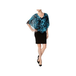 Connected Apparel Womens Capelet Dress Chiffon Floral Print