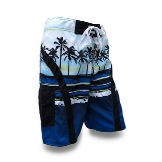 Blue / Green Palm Tree Silhouettes Board Shorts