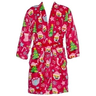 Candy Pink Little Girls Red Christmas Emoticon Print Soft Bath Robe