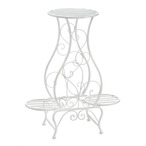 Top Sale White Hourglass Triple Plant Stand