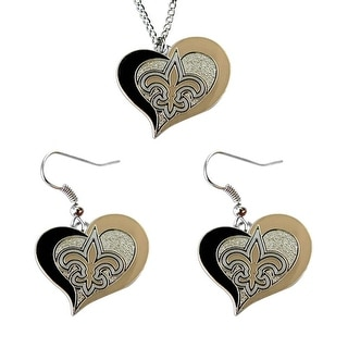 New Orleans Saints NCAA Swirl Heart Pendant Necklace And Earring Set Charm Gift