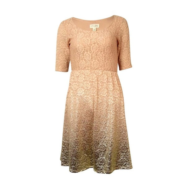 Maison Jules Women's Metallic Ombre Lace A-Line Dress - mahogany rose