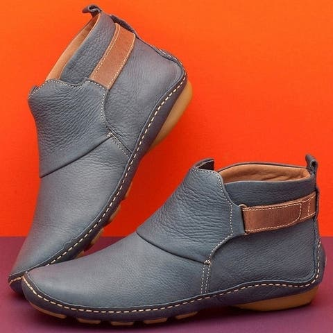 New Women's Round Head Casual Women's Boots Sleeve Fashion Boots Warm Cotton Shoes Flat Bottom Martins Boots