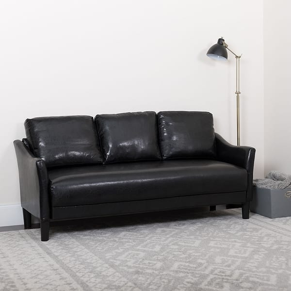 Shop Offex Contemporary Upholstered Black Leather Sofa Couch ...