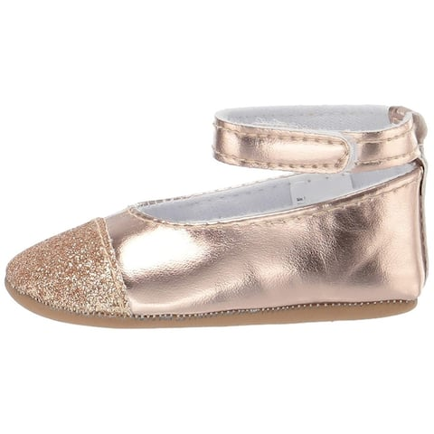 Little Me Kids Baby Girl Shoes with Straps, Rose Gold Mary Jane Flat - 9-12 Months Infant