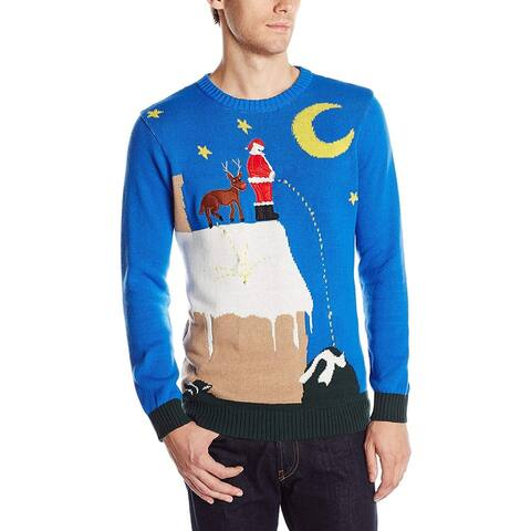 Blizzard Mens Sweater Blue Size Medium M Crewneck Ugly Christmas Lights