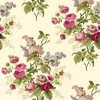 York Wallcoverings ER8181 Waverly Cottage Emma's Garden Wallpaper - light beige/magenta pink/pink/white