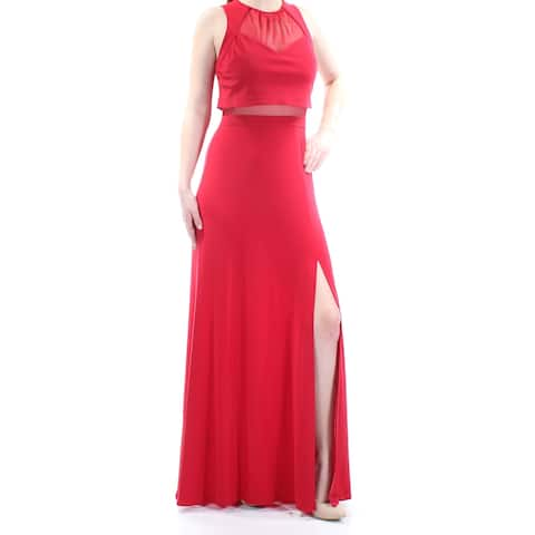 NW WOMEN Womens Red Sleeveless Full-Length Sheath Prom Dress Size 8