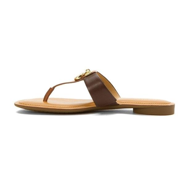 MICHAEL Michael Kors Womens Hamilton Leather Split Toe Casual Slide Sandals