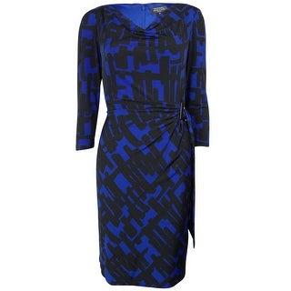 Tahari Women's Print Faux Wrap Cowl Neck Jersey Dress