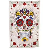 Handmade 100% Cotton 3D Sugar Skull Tapestry Day Of The Dead Wall Art Beach Sheet Huge 60x90 Inches with Amazing 3D Effects