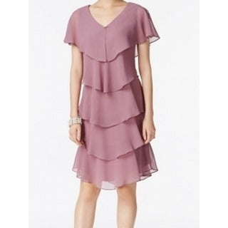 SLNY Elderberry Purple Womens Size 4 Tiered V-Neck Sheath Dress
