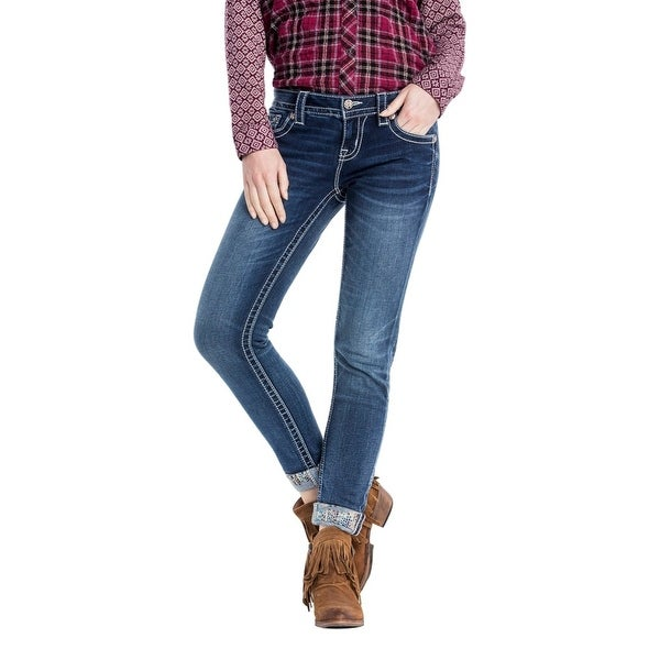 Miss Me Denim Jeans Womens Silent Detail Cuffed Skinny Med JP7778CK