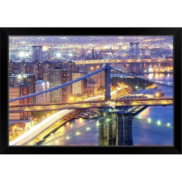 """The three bridges of New York City"" Black Framed Print"