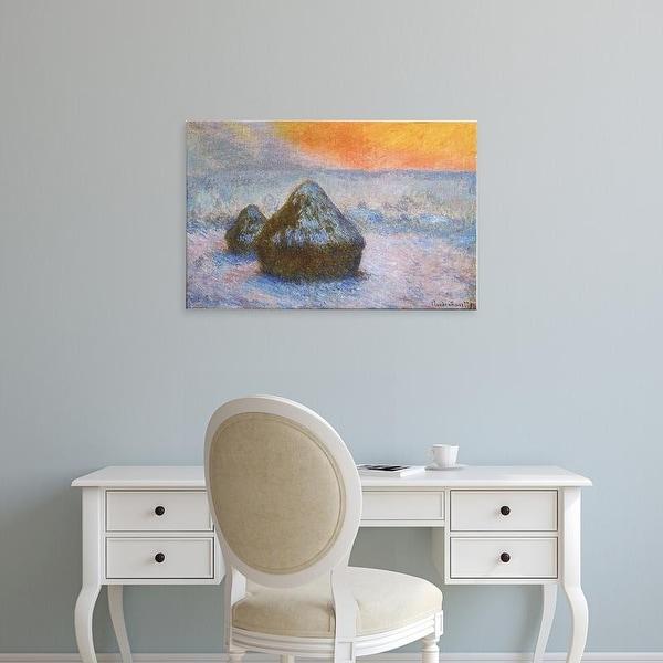 Easy Art Prints Claude Monet's 'Wheatstacks' Premium Canvas Art