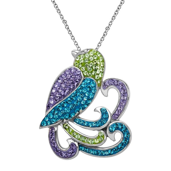 Crystaluxe Parrot Pendant With Swarovski Crystals in Sterling Silver