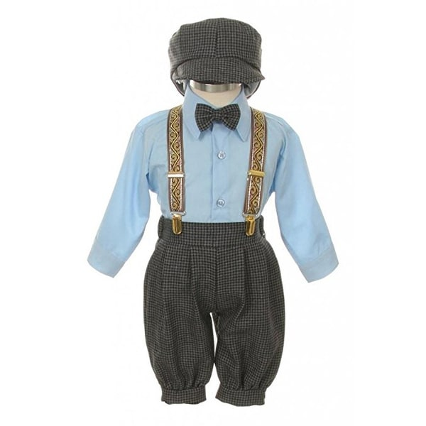 Rafael Baby Boys Navy Overall Pants Knickers Vintage Outfit Tuxedo Set