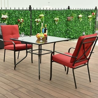 costway 3 piece patio furniture set glass table 2 cushioned chairs garden pool yard - Garden Furniture 3 Piece
