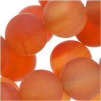 Matte Red Orange Agate Round Gemstone Beads 8mm (15.5 Inch Strand)