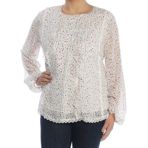 CYNTHIA ROWLEY Womens Ivory Sheer Floral Long Sleeve Crew Neck Blouse Top Size: S