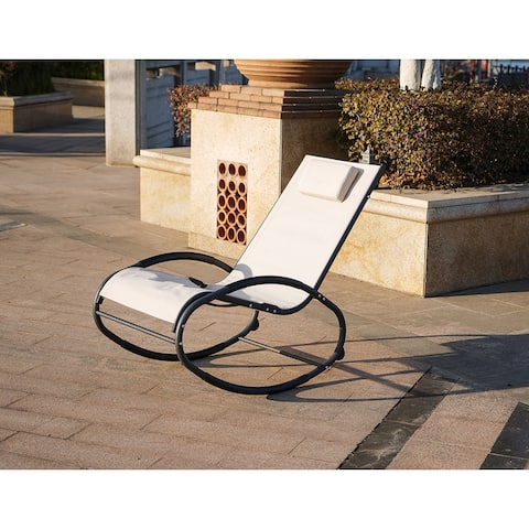 Moda Sunshine Iron Oval Base Rocking Lounge Chair Single with Pillow-Beige