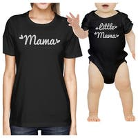 Mama & Little Mama Black Cute T-Shirt Baby Gifts For Newborn Girls