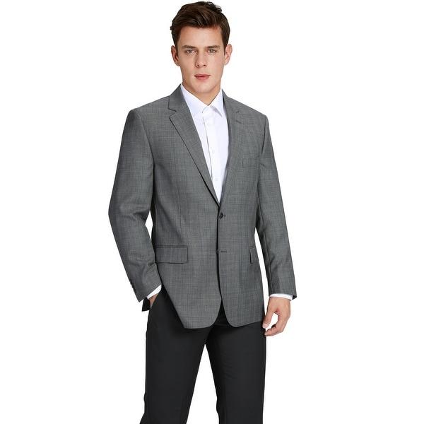 Mens Wool Blend Plaid Classic Fit Sport Coat Suit Jacket Blazer