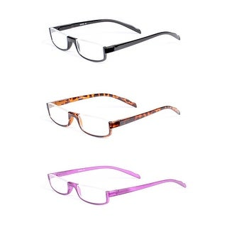 Half Rim Rectangle Reading Glasses 3 Pack Spring Hinge BONUS Case