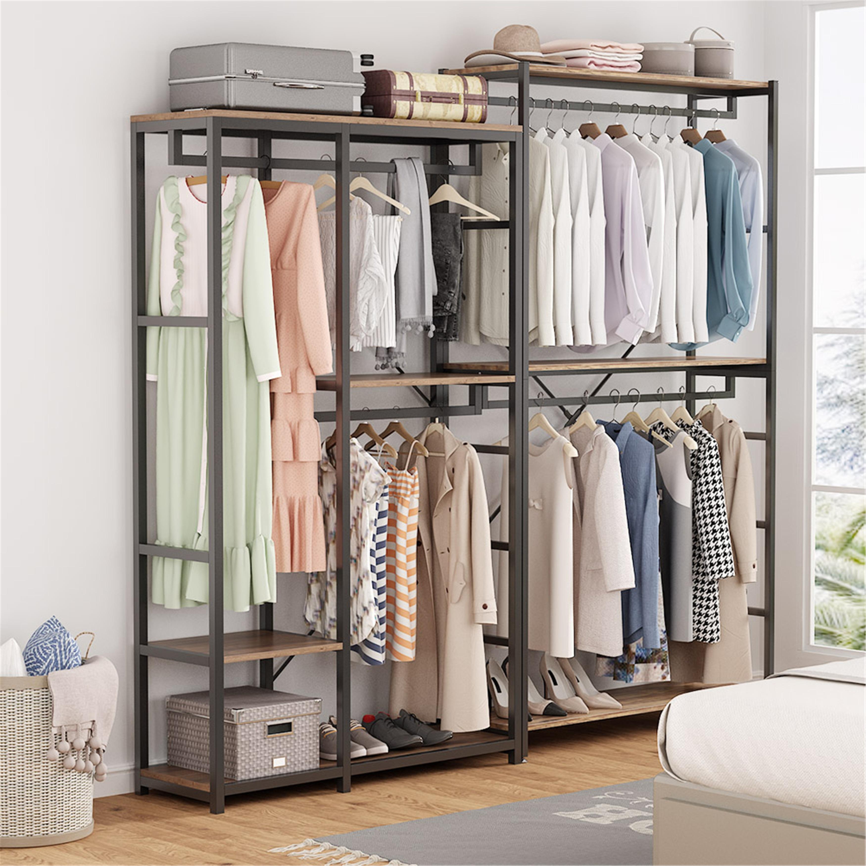 Shop Black Friday Deals On Double Rod Closet Organizer Clothes Garment Rack Brown Overstock 31433987