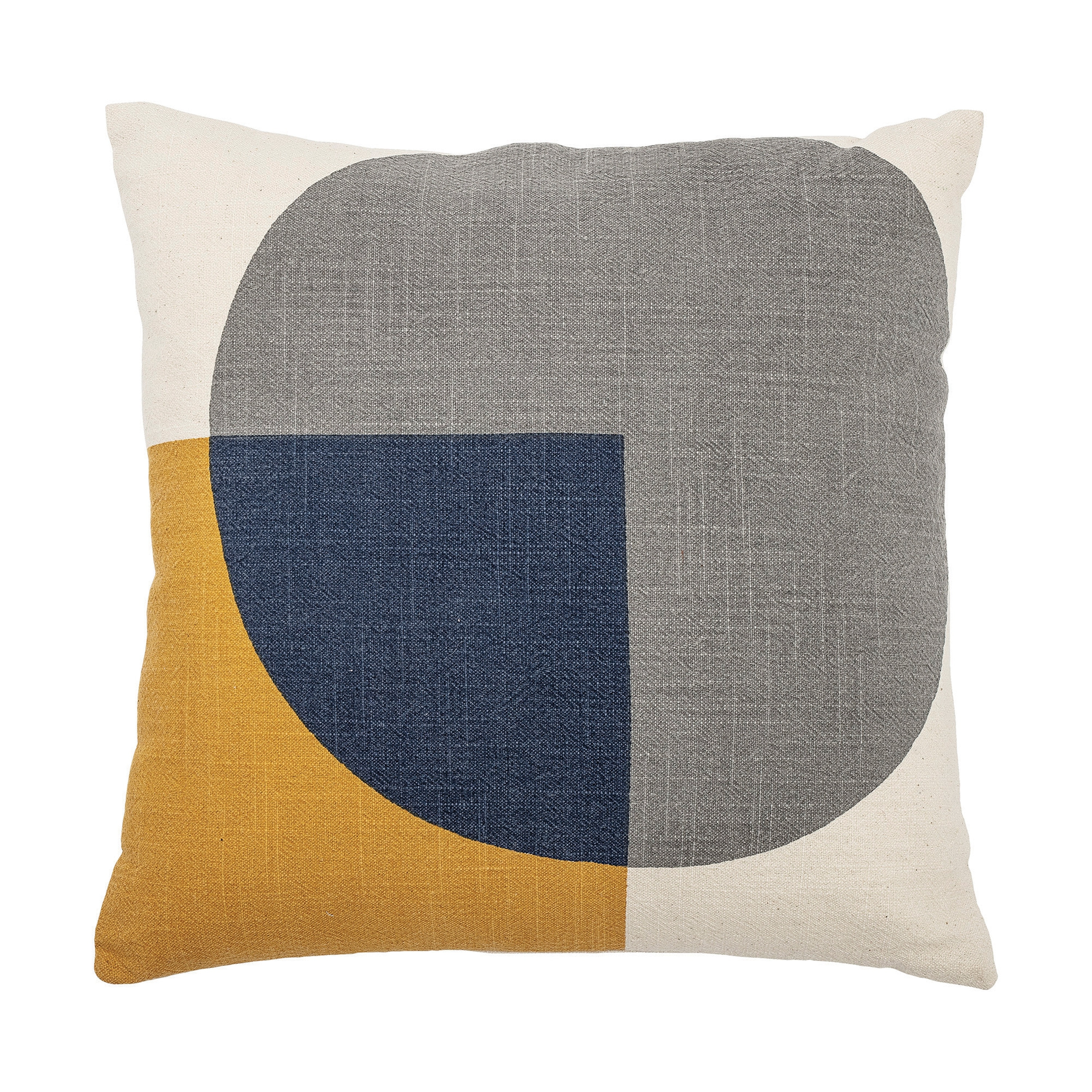 Square Cream Cotton Pillow With Printed Mustard Blue Shapes Solid Cream Back Overstock 31629170