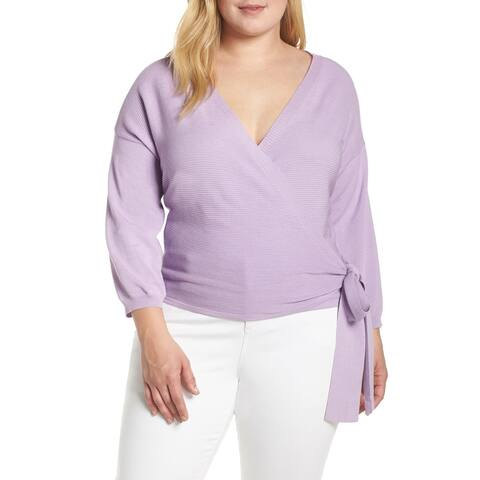 VINCE CAMUTO Womens Purple Long Sleeve V Neck Wrap Sweater Size 3X