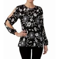Vince Camuto Black White Floral Print Cold-Shoulder XS Top Blouse